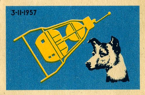 Russia Matchbox Label - Sputnik 2 & Lakia